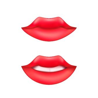 Conjunto de boca de mujer sonriente o labios de dibujos animados con dientes y lápiz labial rojo aislado sobre un fondo blanco.