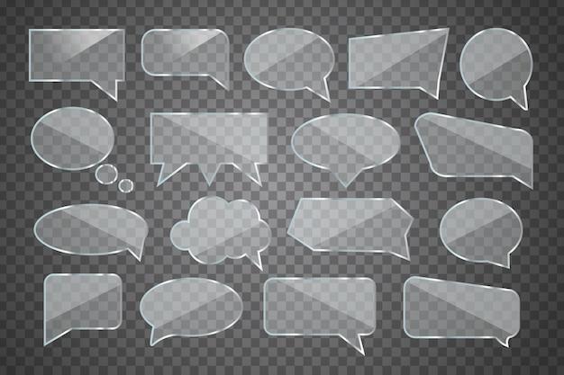 Conjunto de bocadillo de diálogo de vidrio brillante realista para decoración y revestimiento en el fondo transparente.