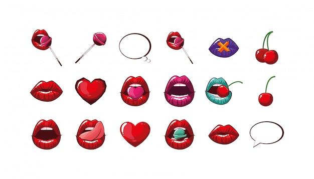 Conjunto de bocas femeninas aisladas