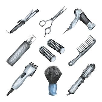 Conjunto de boceto dibujado a mano acuarela de herramientas de peluquero