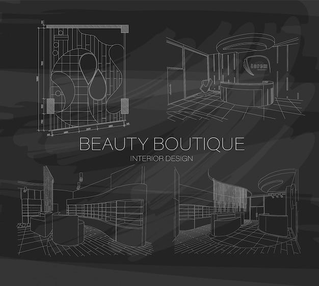 Conjunto de boceto interior de boutique de belleza con diseño moderno