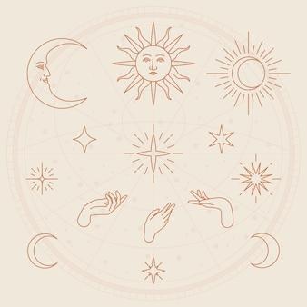 Conjunto de boceto de objeto celeste fondo beige