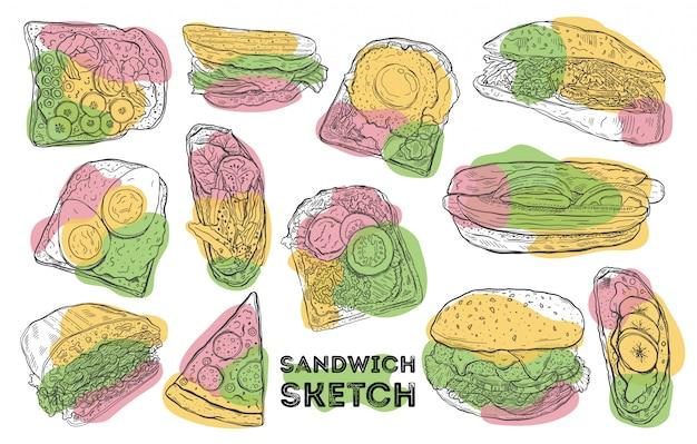 Conjunto de boceto sándwich dibujo a mano alimentos. todos los elementos están aislados en blanco.