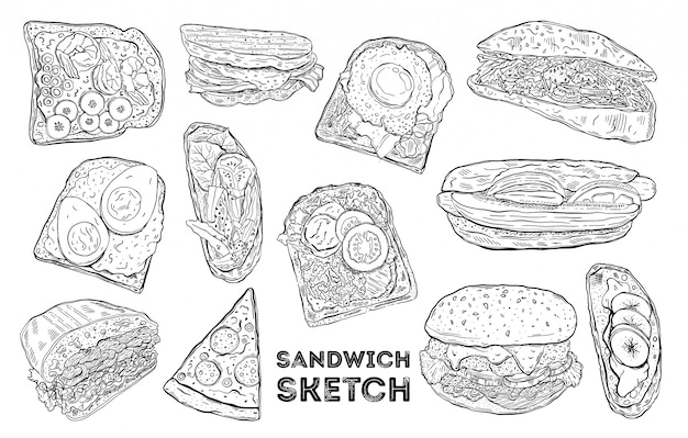 Conjunto de boceto sándwich dibujo a mano alimentos.