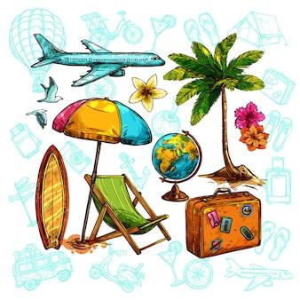 Conjunto de boceto de viaje