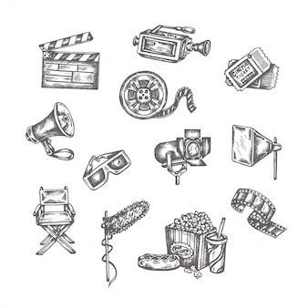 Conjunto de bocetos de cine
