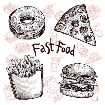 Conjunto de bocetos de comida rápida y bebidas.
