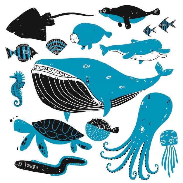 Conjunto de bocetos de criaturas de aguas profundas.