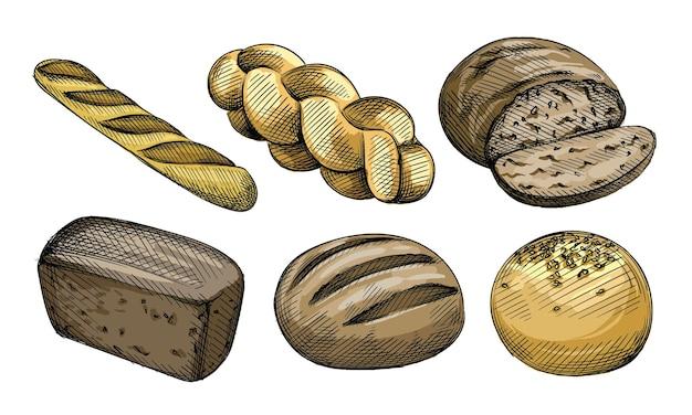 Conjunto de bocetos dibujados a mano acuarela colorida de tipos de pan.