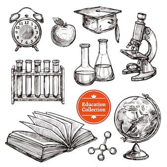 Conjunto de bocetos dibujados a mano de educación