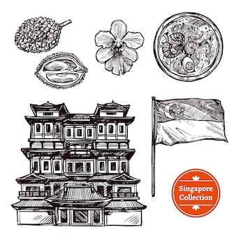 Conjunto de bocetos dibujados a mano de singapur