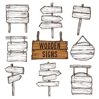 Conjunto de bocetos de letreros de madera