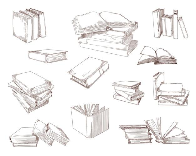 Conjunto de bocetos de libros abiertos, pilas, montones, cuadernos