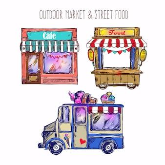 Conjunto de bocetos de mercado al aire libre