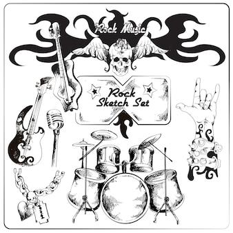 Conjunto de bocetos de música rock.
