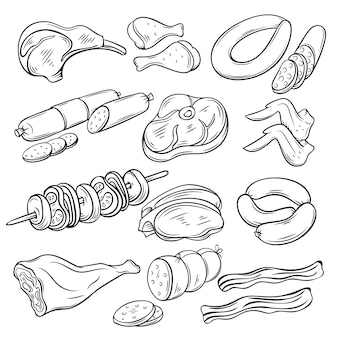 Conjunto de bocetos de productos cárnicos gastronómicos.
