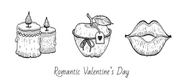 Conjunto de bocetos de san valentín.