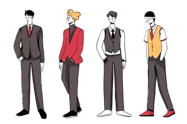 Conjunto de bocetos de trajes de moda de hombre hermosos y diversos