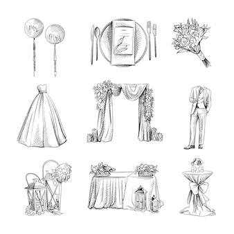Conjunto de boda acuarela dibujada a mano en blanco y negro.