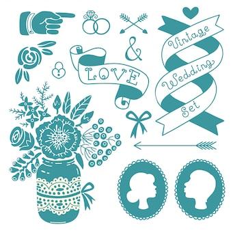 Conjunto de boda de elementos de diseño vintage.
