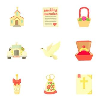 Conjunto de boda, estilo de dibujos animados