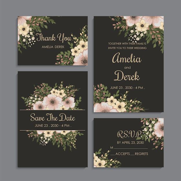 Conjunto de boda de fondo floral oscuro