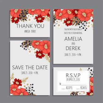 Conjunto de boda de fondo floral rojo y blanco