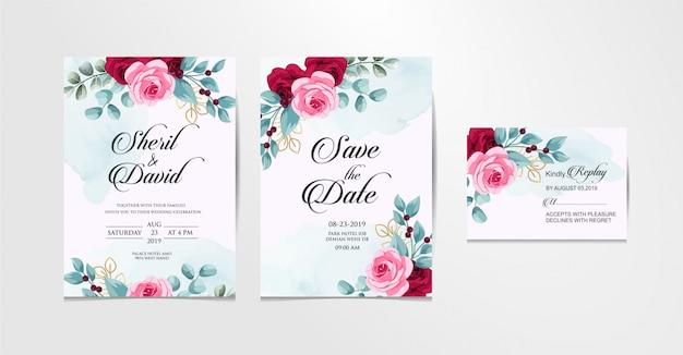 Conjunto de boda vector libre de diseño rosa y azul
