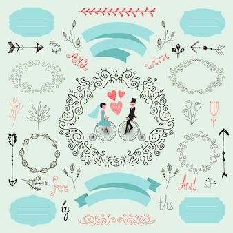 Conjunto de boda de vector wintage colección de amor romántico marcos de elementos de diseño dibujados a mano