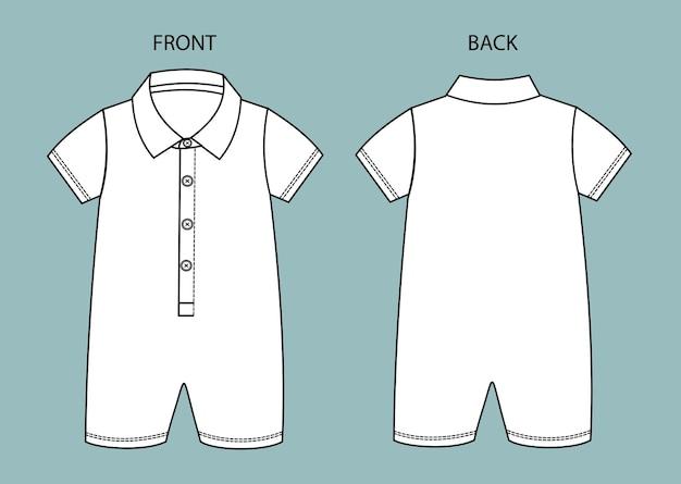 Conjunto de body de bebé vista frontal y posterior