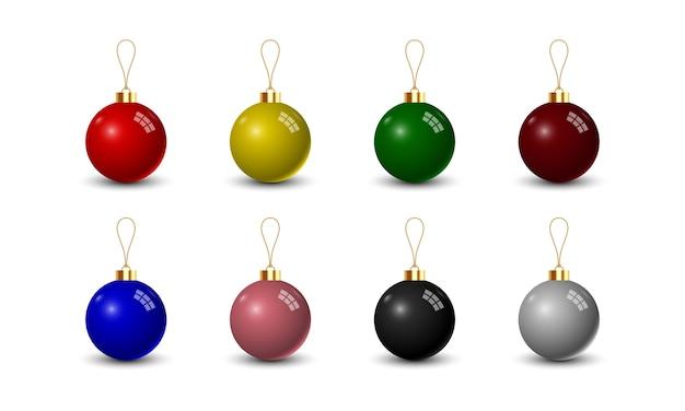 Conjunto de bola de navidad sobre fondo blanco.