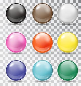 Conjunto de bolas brillantes en transparente