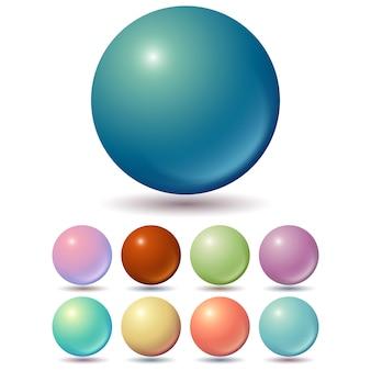 Conjunto de bolas de colores apagados