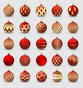 Conjunto de bolas decorativas de navidad aislado