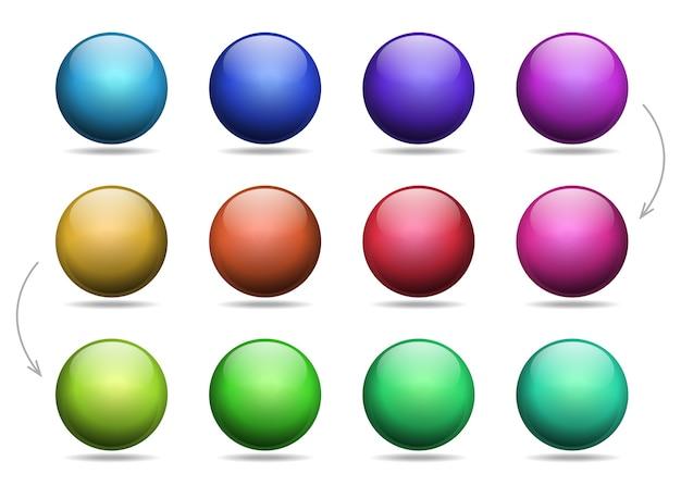 Conjunto de bolas multicolores.