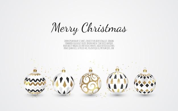 Conjunto de bolas de navidad de colores sobre fondo blanco, ilustración.