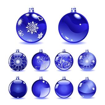 Conjunto de bolas navideñas azules con diferentes adornos