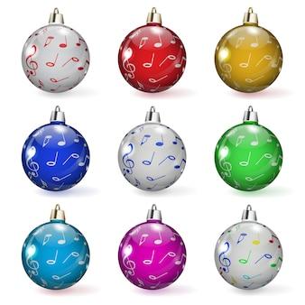 Conjunto de bolas navideñas multicolores con varios adornos
