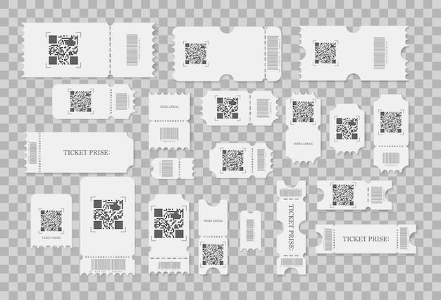 Conjunto de boletos en blanco, cupones y vales con bordes de volantes. las entradas para conciertos del festival, el diseño de la tarjeta de cupones de papel blanco y el cine admiten una hoja.