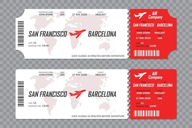 Conjunto de boletos de la tarjeta de embarque de la aerolínea en un fondo transparente