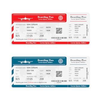 Conjunto de boletos de la tarjeta de embarque de la aerolínea