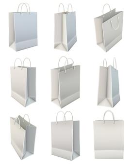 Conjunto de bolsa de compras de papel en blanco blanco