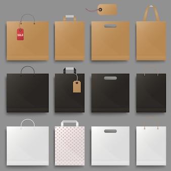 Conjunto de bolsa de compras. paquete de cartón negro cuadrado y horizontal en blanco.