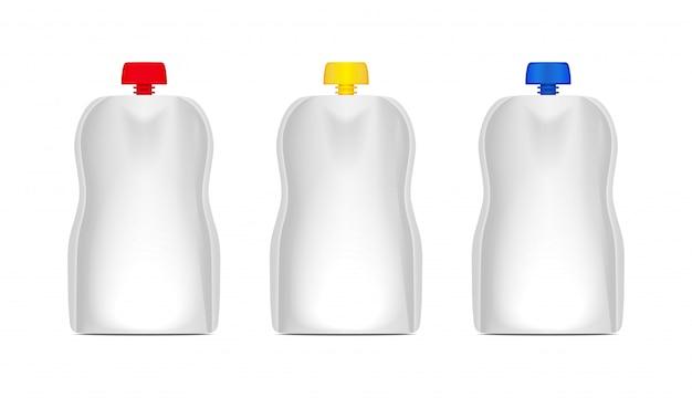 Conjunto de bolsa flexible en blanco con tapa para envasar bolsas de comida o bebida