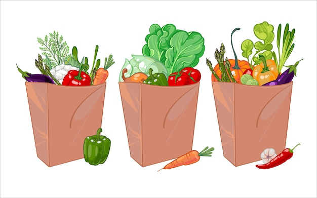 Conjunto de bolsa de papel llena de verduras saludables.