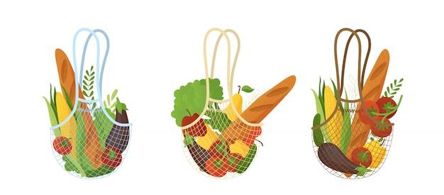 Conjunto de bolsas de compras reutilizables con ilustraciones planas de compras