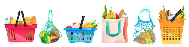 Conjunto de bolsas ecológicas, contenedores de compras de papel o algodón neto con elementos de comestibles aislados en estilo de dibujos animados