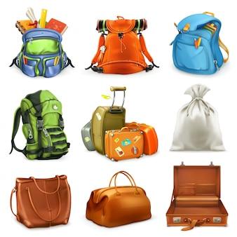 Conjunto de bolsas mochila, mochila, maleta, saco, icono 3d