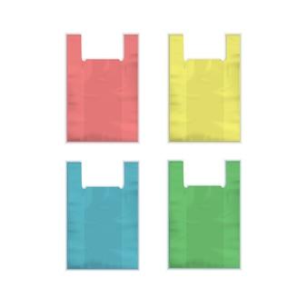 Conjunto de bolsas de plástico desechables vacías de color rojo amarillo azul verde