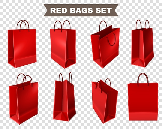 Conjunto de bolsas rojas de compras
